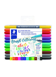 Staedtler 3004TB12A6 Double Ended Brush Letter Duo Markers, 12-Pieces, Assorted Colors