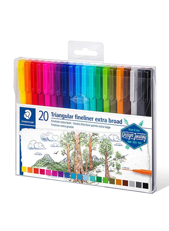 Staedtler Triangular Fineliner 338 TB20-CST Broadliner Pens, 20-Pieces, Multicolor