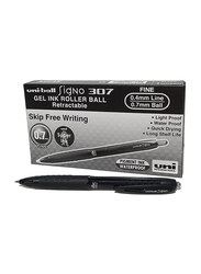 Uniball 12-Piece Signo Gel Ink Roller Ball Retractable Pen, 0.7mm Set, UMN-307, Black