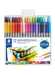 Staedtler 3200 TB72 Double Ended Fiber-Tip Pens, 72-Pieces, Multicolor