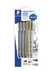 Staedtler 5-Piece Pigment Liner &Metallic Marker Set, 308 SBK3P3, Black