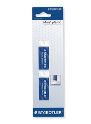 Staedtler Mars 526A 50A BK2D Plastic Eraser, Phthalate and Latex Free, 65 x 23 x 13mm, 2 Pieces, White