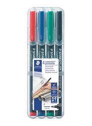 Staedtler Lumocolor Permanent 318-WP4 Universal Pens, 0.6mm, 4-Pieces, Assorted Colors
