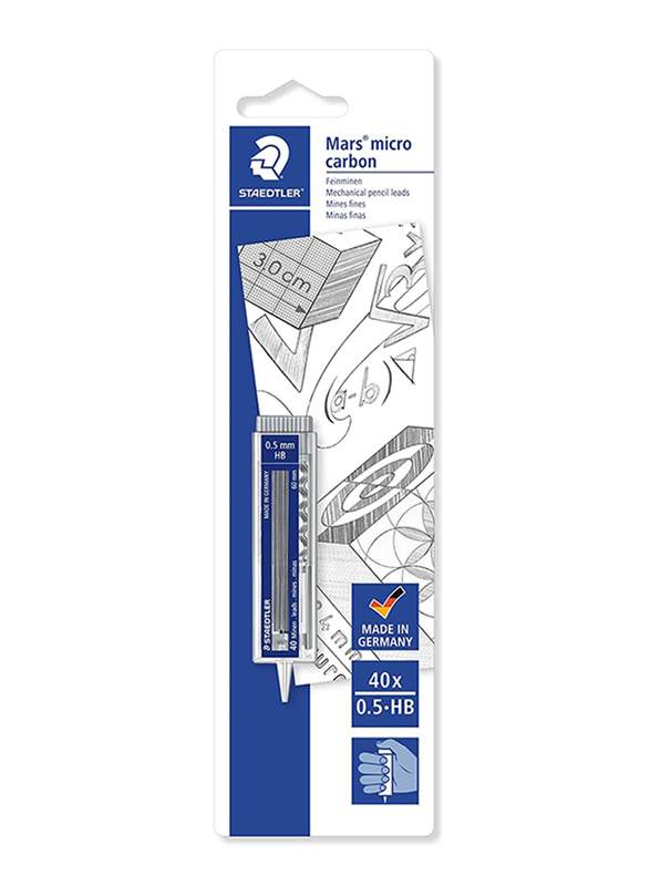 Staedtler 40-Piece Mars Micro Carbon Mechanical Pencil Leads Refill, Black