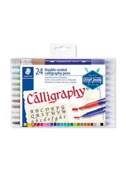 Staedtler 3005 TB24 Double Ended Calligraphy Duo Fiber Tip Pens, 24-Pieces, Multicolor