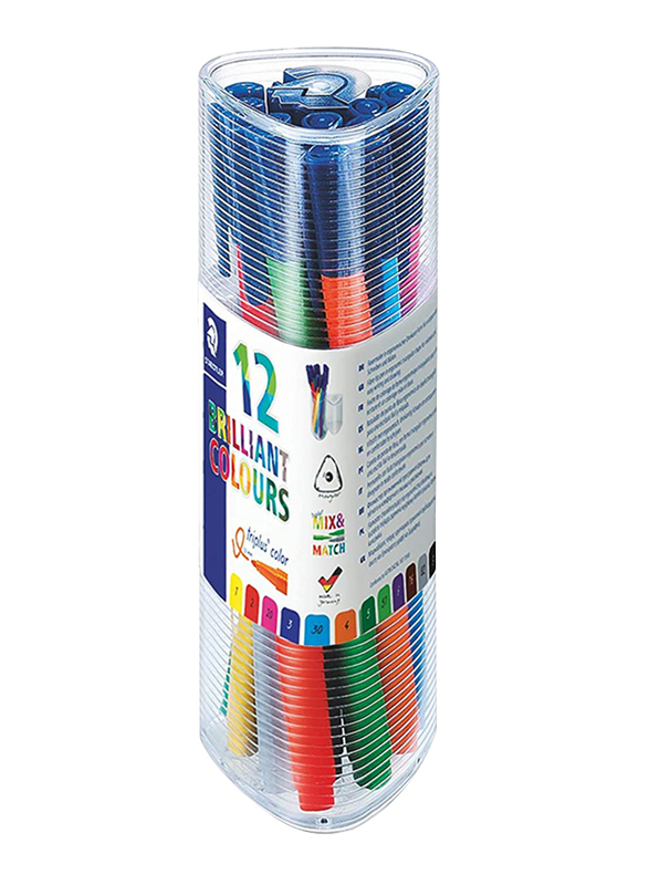 Staedtler Triples Color 323 PR12 Pens, 12-Pieces, Multicolor