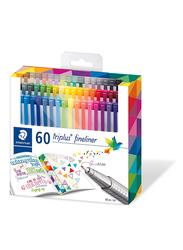 Staedtler Triples Fineliner 334 C60 Pens, Width 0.3mm, 60-Pieces, Multicolor