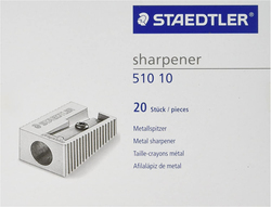Staedtler 51010 Metal Single Hole Sharpeners, 20-Pieces, Silver