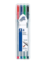 Staedtler 4-Piece Triplus Superfine Fineliner Pen Set, 0.3mm, Multicolor