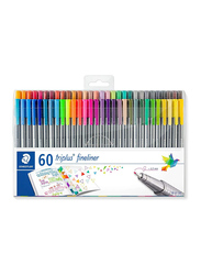 Staedtler Triples Fineliner 323 and 338 Pens, 60-Pieces, Multicolor