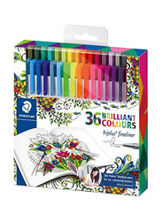 Staedtler Triples Fineline Pens with Magical Jungle: An Inky Expedition Coloring Book, 36-Pieces, Multicolor