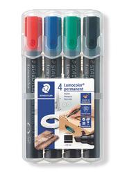 Staedtler Lumocolor 350 WP4 Permanent Markers, 4-Pieces, Multicolor