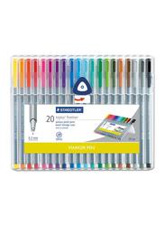 Staedtler Triples Fineliner 334 SB20 Pens with Metal-Clad Tip, Width 0.3mm, 20-Pieces, Multicolor