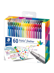 Staedtler 60-Piece Triplus Fineliner Color Pen Set, Multicolor
