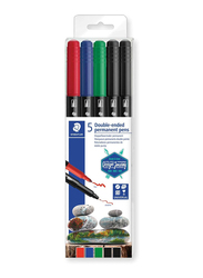 Staedtler 3187 TB5 Double Ended Permanent Pens, 5-Pieces, Assorted Colors