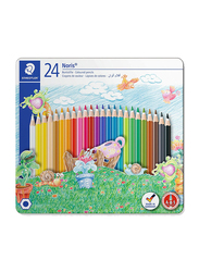 Staedtler Noris Club ST-145-CM24 Color Pencils Set, In Castle Design Tin, Assorted Colors, 24 Pieces, Multicolor