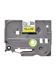 Brother TZE621 Laminated Tape, 9mm, Black on Yellow