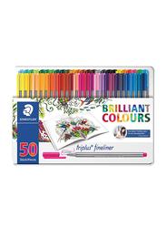 Staedtler 50-Piece Triplus Superfine Fineliner Pen Set, 0.3mm, Multicolor