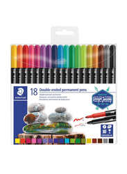 Staedtler 3187 TB18 Double Ended Permanent Pens, 36-Pieces, Assorted Colors