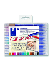 Staedtler 12-Piece Double Ended Calligraphy Markers, 3002TB12LU, Multicolor