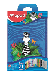 Maped 31-Piece Jungle Filled Pencil Case with Accessories Set, Multicolor