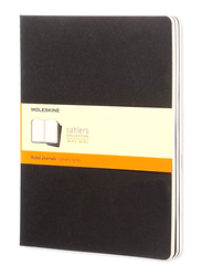 Moleskine Cahier Ruled Journal Notebook Set with Pages Cardboard Cover & Visible Cotton Stitching, 9 x 25cm, 3 Packs, Black