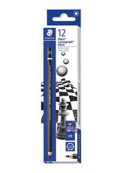 Staedtler Mars Lumograph ST-100B-HB Artist Pencils Set, Presharpened, 12 Pieces, Black