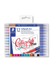 Staedtler 3005 TB12 ST Double Ended Calligraphy Duo Fiber Tip Pens, 12-Pieces, Multicolor