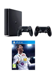 Sony PlayStation 4 Slim Console, 500GB, with 2 DualShock 4 Controller and 1 Game (FIFA 18), Black
