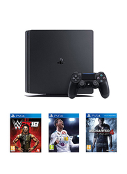 Sony PlayStation 4 Slim Console, 1TB, with 1 Controller and 3 Games (WWE 2K18, FIFA 18, Uncharted 4), Black