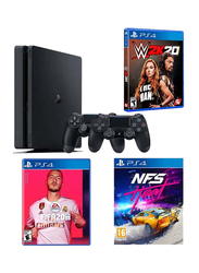 Sony PlayStation 4 Slim Console, 500GB, with 2 DualShock Controller and 3 Games (FIFA 20, NFS Heat, WWE 2K20), Black
