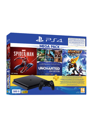 Sony PlayStation 4 Slim Console, 500GB, with 1 Controller and 3 Games (Spiderman, Uncharted: The Nathan Drake Collection, Ratchet & Clank), Black