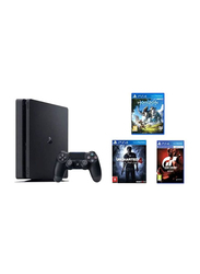 Sony PlayStation 4 Slim Console, 500GB, with 1 Controller and 3 Games (Horizon Zero Dawn, Gran Turismo Sport, Uncharted 4) and 90 Days Subscription Membership, Black