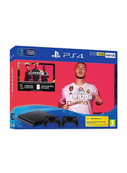 Sony PlayStation 4 Slim Console, 500GB, with 2 DualShock Wireless Controller and 1 Game (FIFA 20), Black