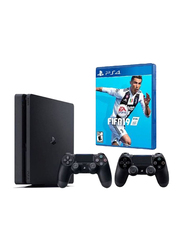 Sony PlayStation 4 Slim Console, 1TB, with 2 DualShock 4 Controller and 1 Game (FIFA 19), Black