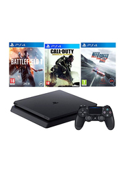 Sony PlayStation 4 Slim Console, 1TB, with 1 Controller and 3 Games (Call Of Duty: Advance Warfare, Need For Speed Rivals, Battlefield 1), Black