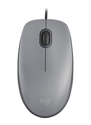 Logitech M110 Silent Wired Optical Mouse, Mid Grey