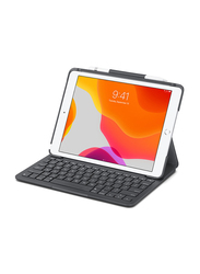 Logitech English-Arabic Keyboard Slim Folio Case Cover for Apple iPad (7th Gen), Graphite Black