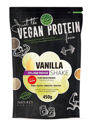 Natures Finest Vegan 70% Protein Shake Powder with Sweetened with Stevia, 450g, Vanilla