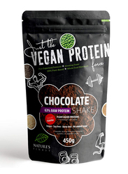 Natures Finest Vegan 63% Protein Shake Powder with Sweetened with Stevia, 450g, Chocolate