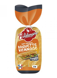 La Boulangere 4 Wholemeal Soft French Baguette Viennoise, 340g