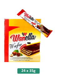 Wanella Chocolate Coated Wafers with Hazelnut, 24 Pieces x 35g