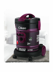 Clikon 2000W Drum Style Vacuum Cleaner with Metal Body, 21L, CK4402, Maroon