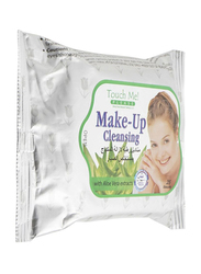 Touch Me Aloe Vera Extracts Makeup Cleansing Wipes, 25 Sheets, White