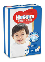 Huggies Ultra Comfort Diapers, Size 5, 12-22 kg, 34 Count