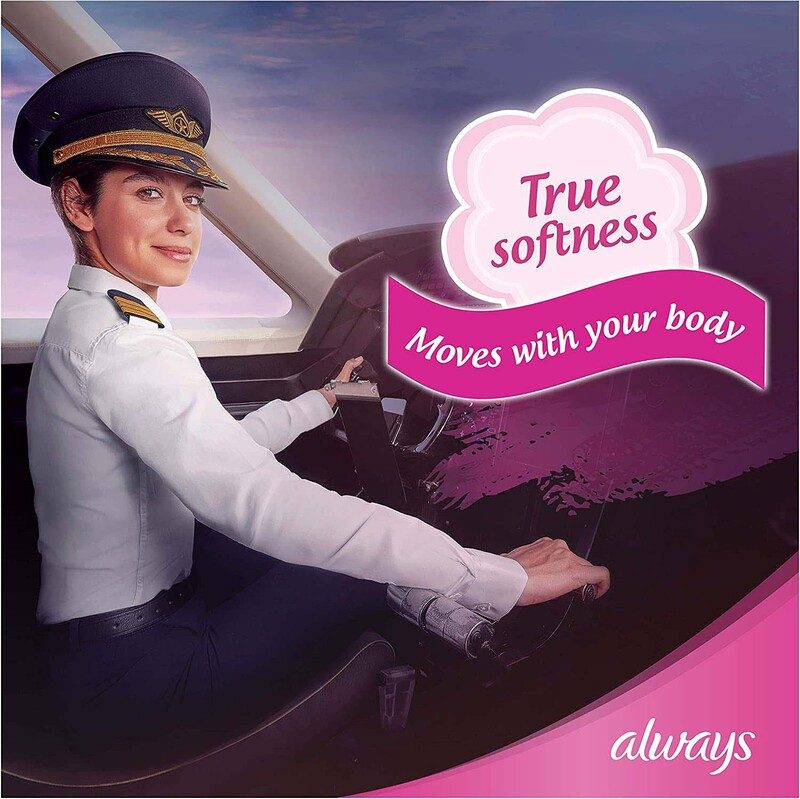 Always Cotton Soft Maxi Thick Night Sanitary Pads with Wings, 24 Pads