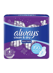 Always Clean & Dry Maxi Thick Sanitary Pads, Large, 30 Pads