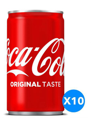 Coca Cola Regular Soft Drink, 10 Cans x 150ml