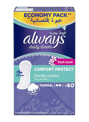 Always Comfort Protect Fresh Scent Daily Liners, Normal, 40 Pieces