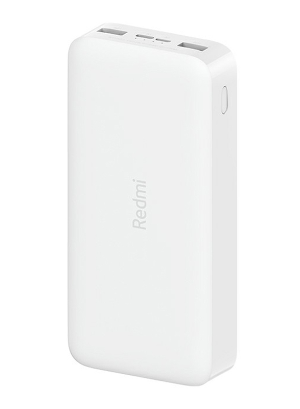 Xiaomi 20000mAh Redmi 18W Fast Charge Power Bank with USB Type-C and Micro-USB Input, VXN4285GL, White